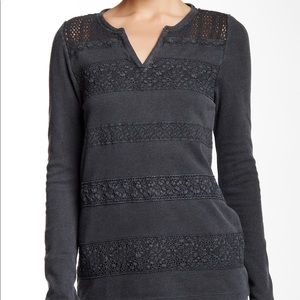 LUCKY BRAND LACE STRIPE THERMAL LONG SLEEVE TEE